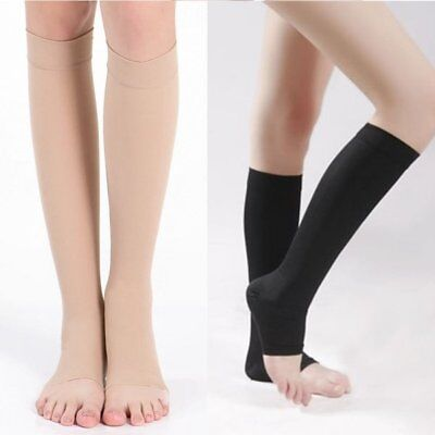 Knee Open Toe Support Stockings - US Mens Womens Compression Toeless Socks Knee High Support Stockings Open Toe