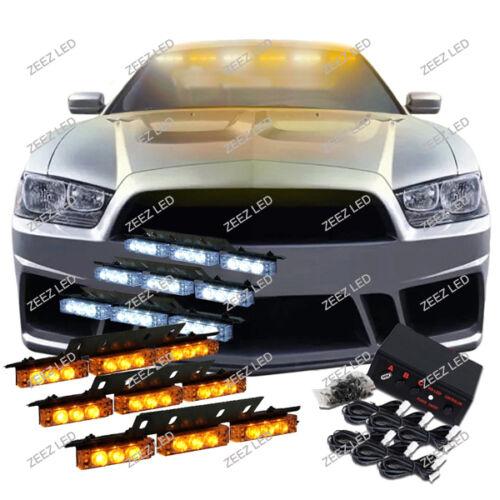 54 Amber & White LED Car Truck Emergency Flashing Warning Flash Strobe Light C93