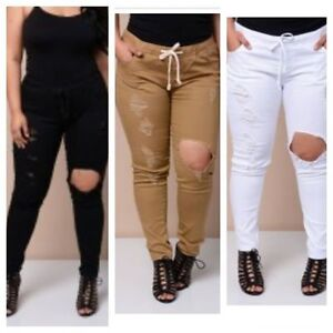 Distressed skinny jogging pant