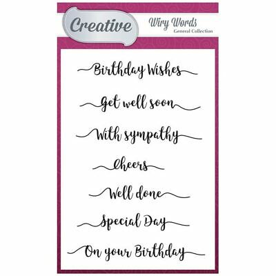 Creative A6 Stamp Set General Sentiments Set of 7 | Wiry Words Collection