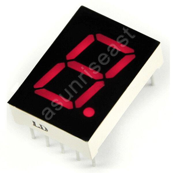 "1 × Red 7 Segment 5"" Inch LED Single Digit display Common Cathode 1 Bit 10-Pins"