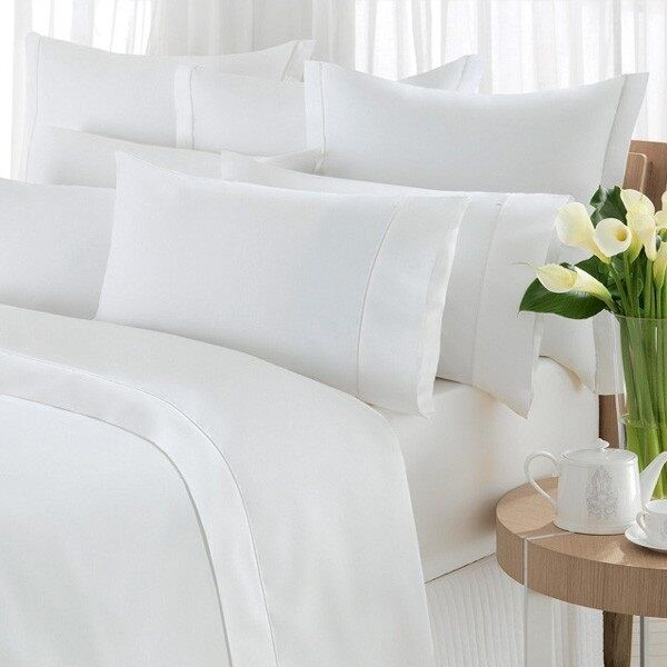 new white queen size flat bed sheet 90x110 percale t200 lot of 6