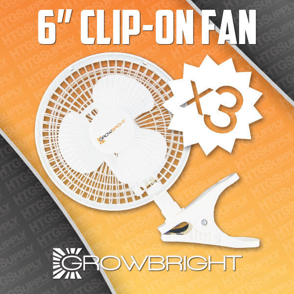 """3 pack 6"""" CLIP ON FANS 2 speed air grow light King inch 9145 active acfc6 duct"""
