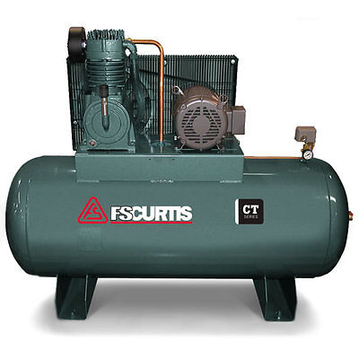 FS-Curtis CT10 10-HP 120-Gallon Two-Stage Air Compressor (200-208V 3-Phase)
