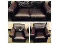 Brown leather 3 piece suite.sofa and chairs immaculate. Free delivery