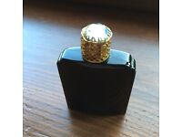 Antique glass perfume bottle blue, with blue stone .