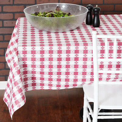25 YARD Roll Burgundy Checkered Vinyl Table Cloth Cover Restaurant - Checkered Tablecloth Roll
