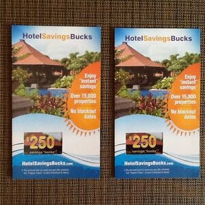 Two $250 HotelSavingBucks cards for sale or trades.