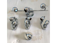 Five quality chrome lights with adjustable heads as new, take a lot for only £45,all bulbs included