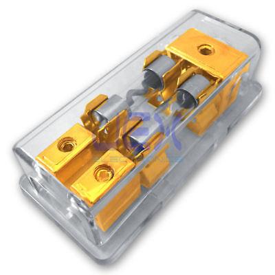 Agu In Line Fuse Holder - 2-Way/2X AGU In-Line Fuse Holder Power Distribution Block Audio/Car/Amp 10A-100A