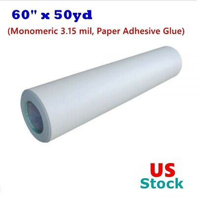 Us Stock 60 X 50yd Roll Glossy Cold Laminating Film Monomeric 3.15 Mil