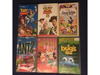 Disney VHS Videos Snow White, Toy Story 1 + 2, Bugs Life, Antz, Prince and Pauper
