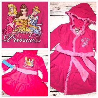(Disney Princess Girls Bath Robe Cinderella Sleeping Beauty Belle PINK Hooded)