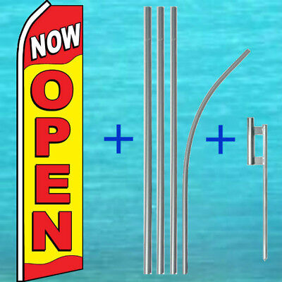Now Open Flutter Flag Pole Mount Kit Tall Curved Feather Swooper Banner Sign