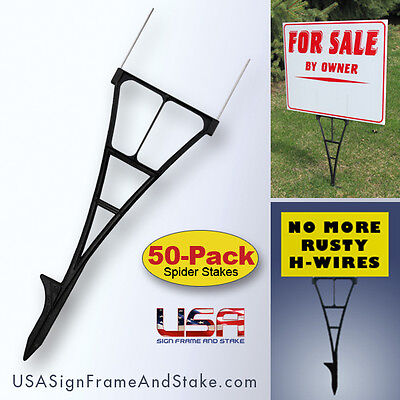 Outdoor Sign Stakes 50-pack - High Density Plastic Corrugated Sign Holder