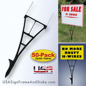 Yard Sign Stakes 50-PACK - High Density Plastic Corrugated Sign Holder