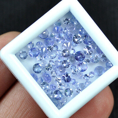 100 Pc+/7.00 Ct+ Top Natural Tanzanite Round Wholesale Gems Lot For Setting Size