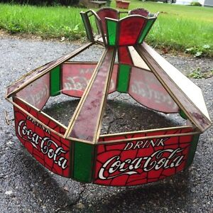 Coca-cola stained glass lamp shade.