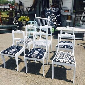 Set of 6 eclectic refinished antique chairs $385 fri & sat