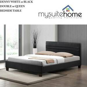 GoldCoast Denny White/Black Leather Double/Queen Size Bed Bundall Gold Coast City Preview