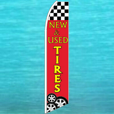 New Used Tires Flutter Flag Tall Curve Advertising Sign Feather Swooper Banner