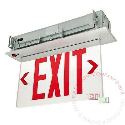 Red Led Emergency Exit Light Sign Recessed Edge Lit Battery Backup Alum - Elrr