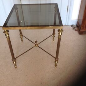 GLASS TOPPED BRASS TABLE