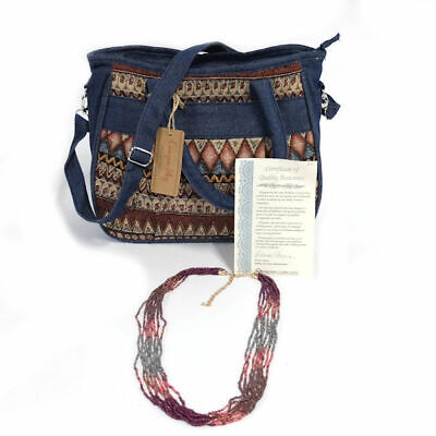 Canyon Sky Women's Printed Denim Handbag with Necklace
