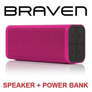 NEW BRAVEN BLUETOOTH SPEAKER PORTABLE HD WIRELESS SPEAKER - FUNCTIONS AS POWER BANK - MAGENTA - WIRELESS 99190916