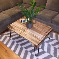 Rustic Solid Oak Coffee Table on Hairpins - Vintage Style