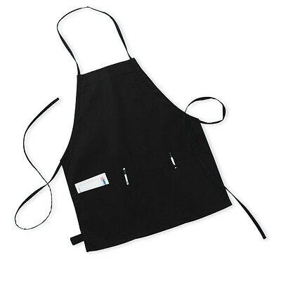 New Black 3 Pocket Bib Apron Chef Server Waitress Waiter 24l X 19w Fast Ship