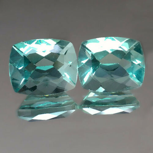9.76cts 11x9mm Cushion Pair Green Natural Fluorite Loose Genuine Gemstones
