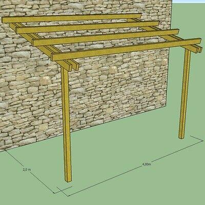 Pergola addossata in legno 4x2 pensilina tettoia in pino impregnato in autoclave