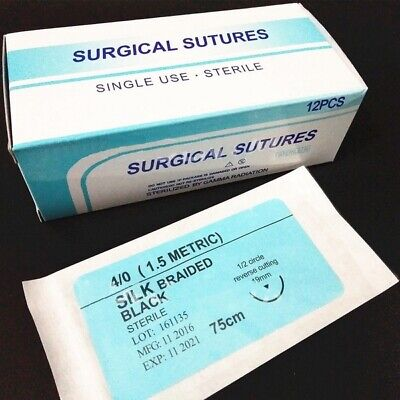 12pcsbox Dental Surgical Suture Silk Braided 75cm Non Absorbable Suture 40
