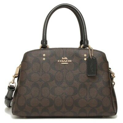 New Authentic Coach 91494 Mini Lillie Carryall Handbag Purse Sig Brown Black