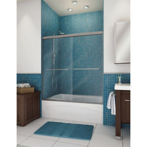 Bath tub shower by pass sliding door frameless 45 59 5 for How wide is a tub