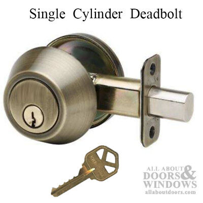 Better Home Products Deadbolt, Single Cylinder,  Antique
