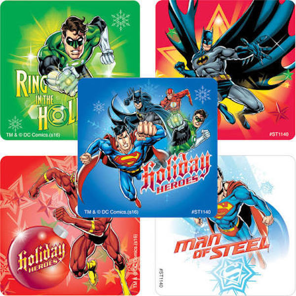 25 Justice League Christmas Stickers Party Favors DC Comics