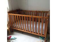 Wooden Cot Bed & mattress