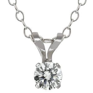 0.15 Ct Round Cut 14K White Gold Diamond Pendant With 18