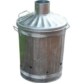 Galvanised Zinc Steel Garden Incinerator Bin With Lid & Feet