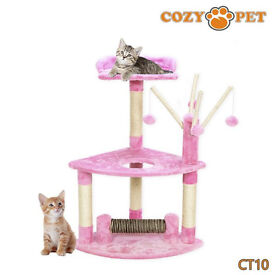 PINK CAT TREE - SCRATCHING POST - KITTEN GAME CENTRE