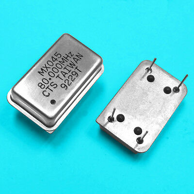 1 80.000 Mhz Oscillator In Full Size Shielded Metal Can With Dip-14 Footprint