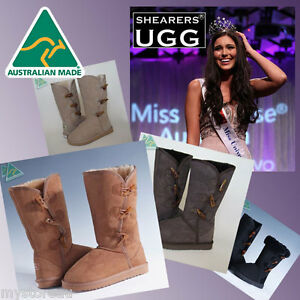 CLEARANCE-SALE-HAND-MADE-Australia-SHEARERS-UGG-3-Button-Sheepskin-Long-Boots