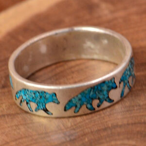 Mens Vtg Turquoise Circling Wolves .925 Silver Ring, Sz 12 1/4