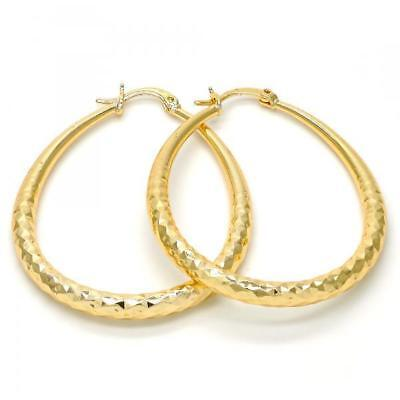 Classy Medium Real Gold Plated Oval Hoop Earrings 14k Gold Layered (50mm x 4mm) 4mm Medium Hoop Earrings