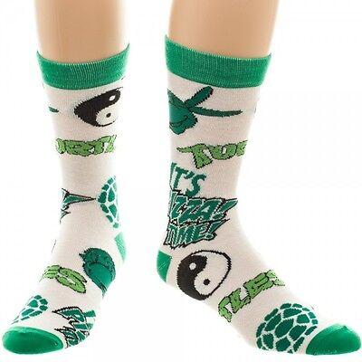Classic TMNT Teenage Mutant Ninja Turtles Mens Crew Socks 1 Pair Bioworld Pizza (Tmnt Socks)