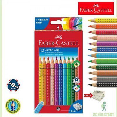 12 Faber-Castell Jumbo Grip Buntstifte, dicke Farbstifte + Spitzer Schulanfang