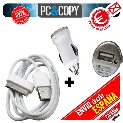 Cargador coche 1A+ cable USB blanco para iphone 3GS 4 4S iPod...