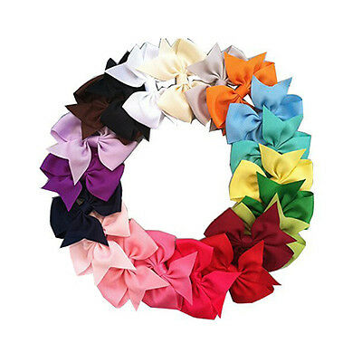20 Colors Boutique Hair Bows  Kids Alligator Clip Grosgrain Ribbon Hair Clips